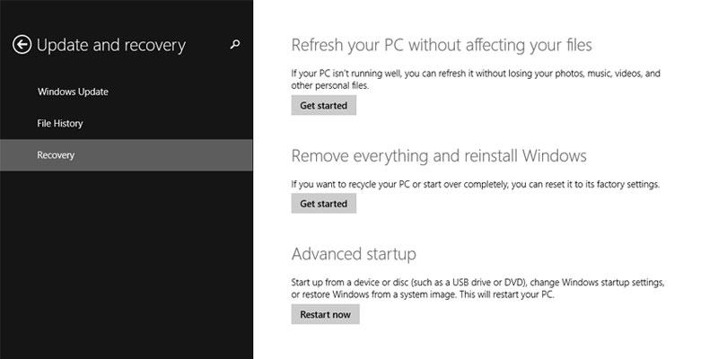 Advance Startup Option - PC Settings