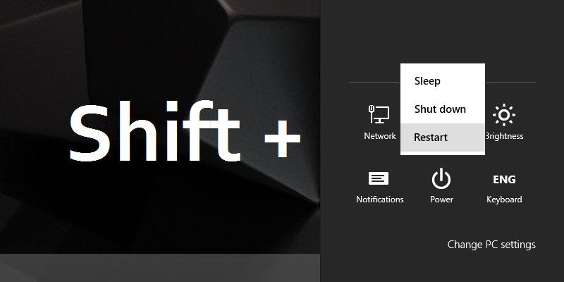 Advance Startup Option - Shift + Restart Button