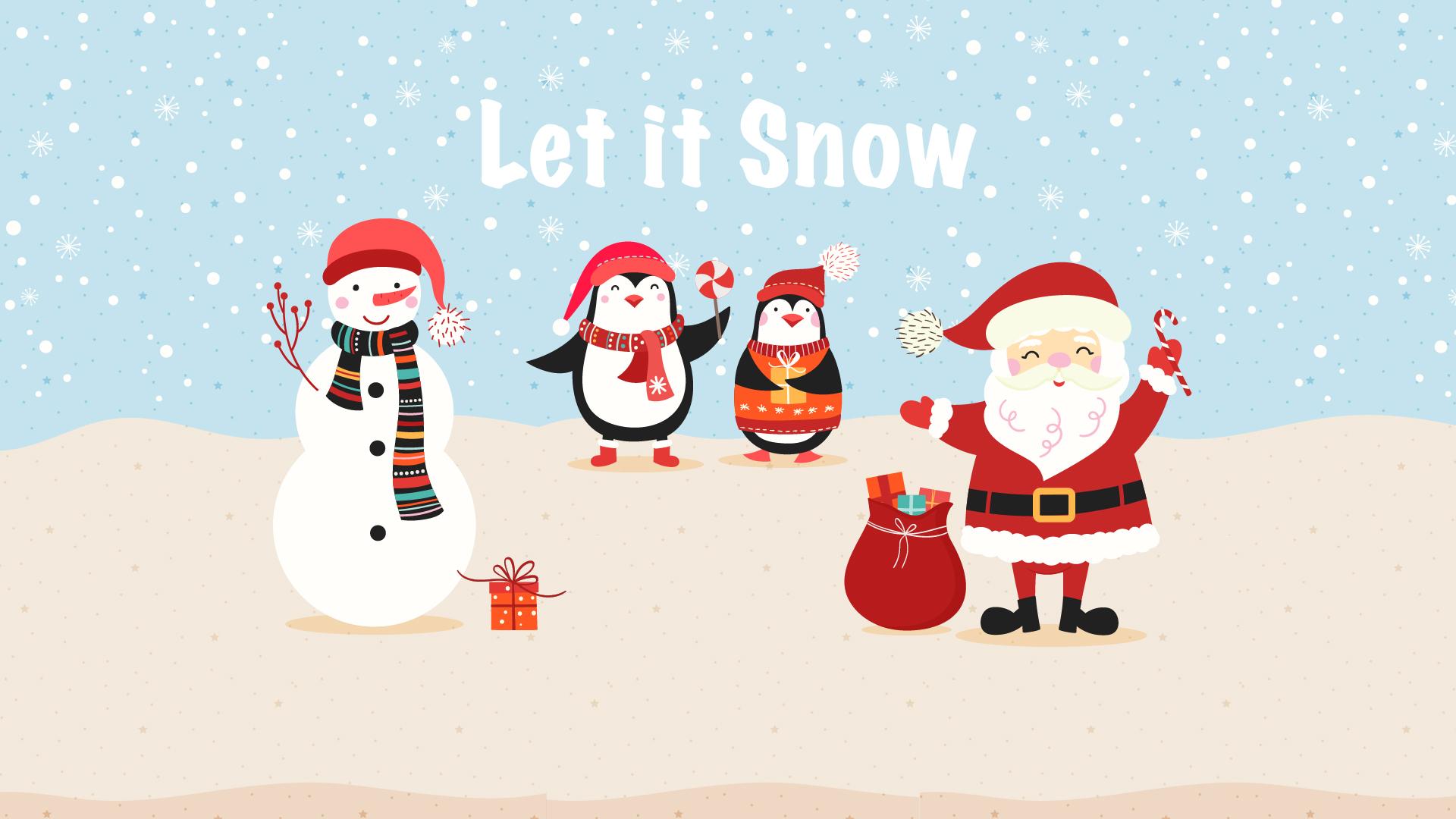 Christmas Wallpaper - Let it Snow - Cartoon