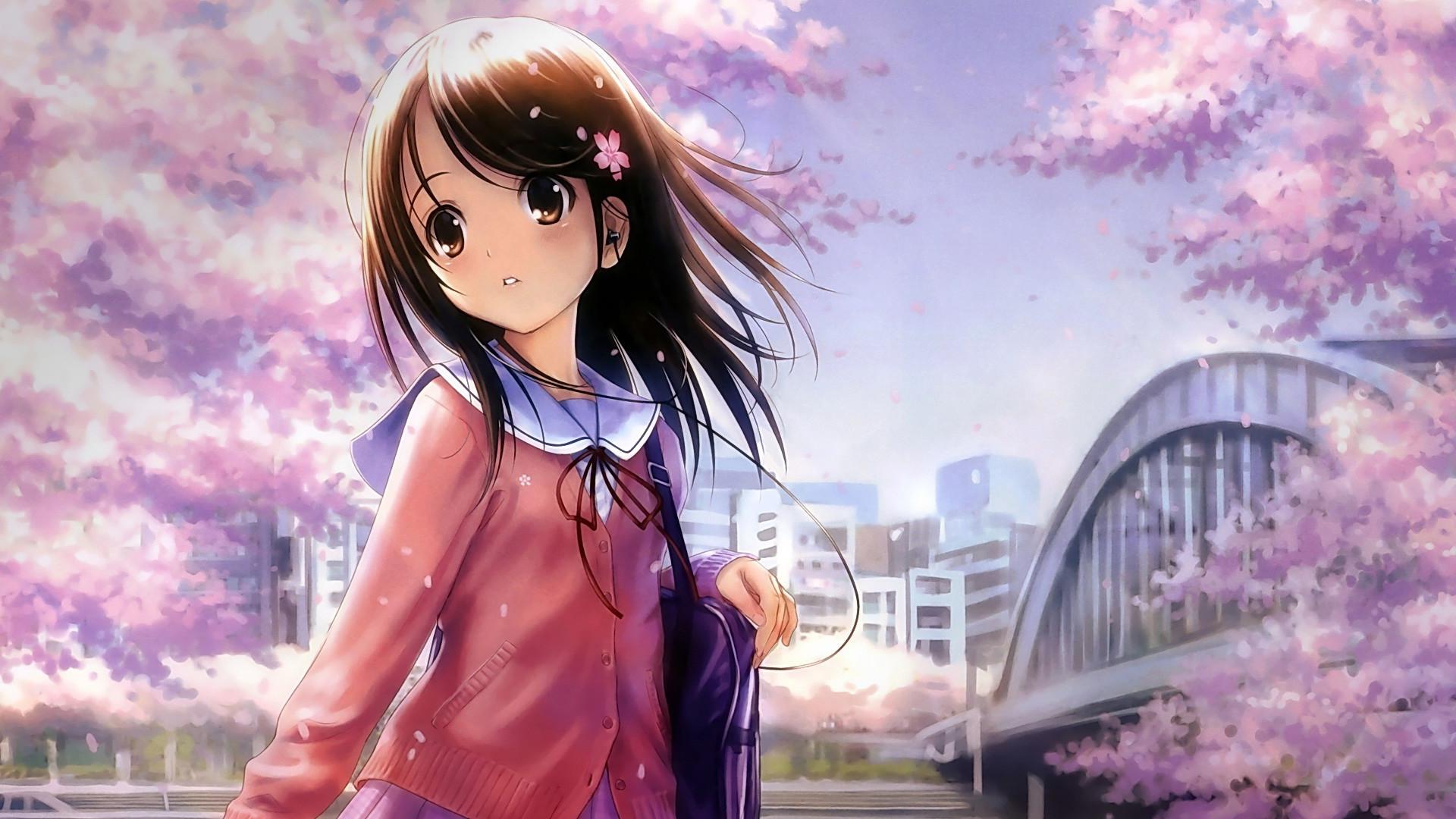 School Girl Anime Wallpaper