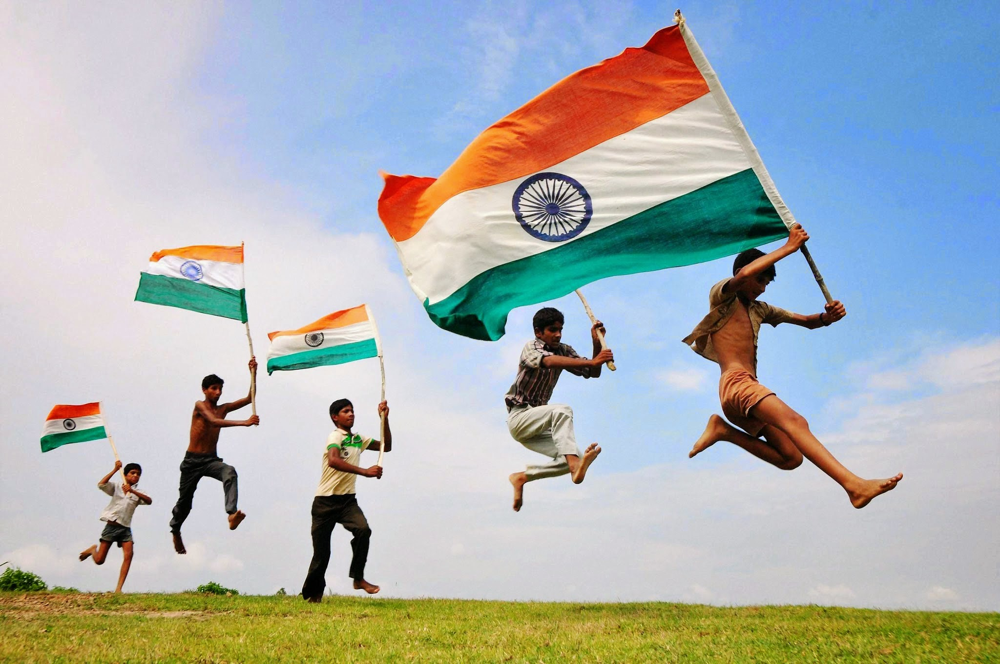 Kids Holding Indian Flag Proud Moment