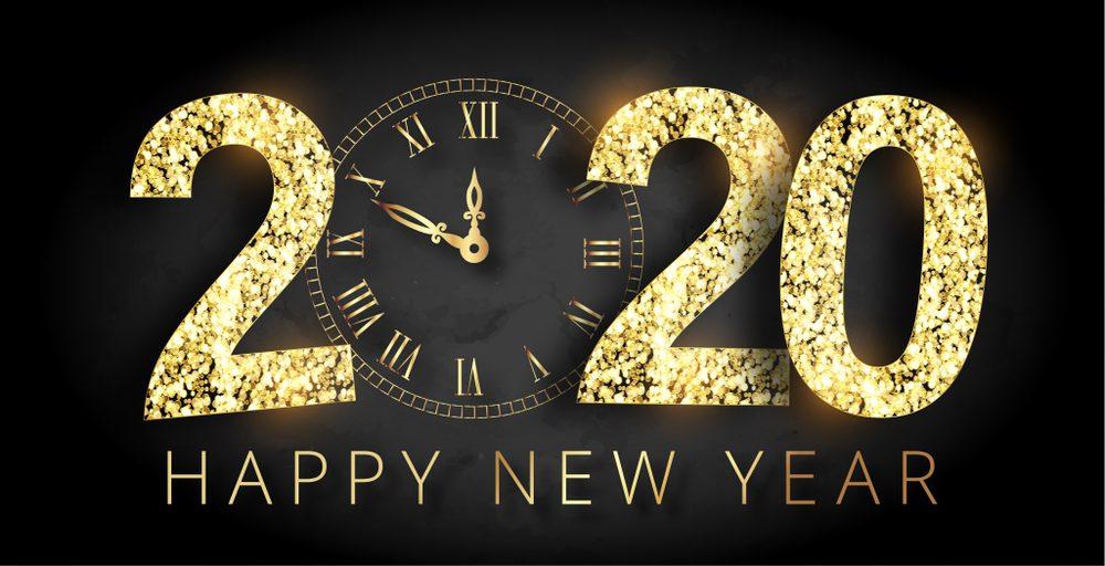 Happy New Year 2020 Black Wide