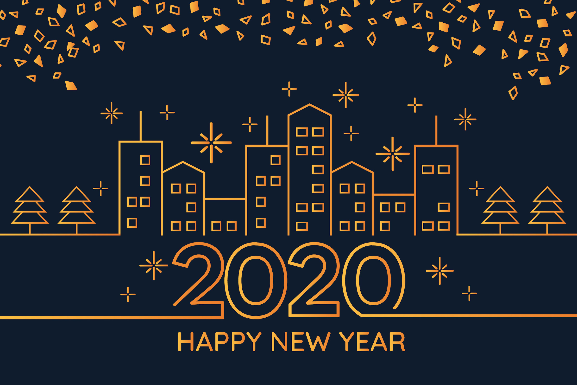 New Year 2020 Background Concept Outline Style